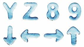 Alfabeto del agua aislada en un fondo blanco stock de ilustración