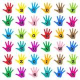 Alfabeto del arco iris de la mano stock de ilustración