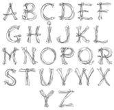 Alfabeto del bosquejo Foto de archivo libre de regalías