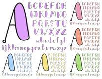 Alfabeto del bosquejo de la vendimia Imagen de archivo