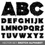Alfabeto del bosquejo del vector Imágenes de archivo libres de regalías