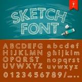 Alfabeto del bosquejo y colecciones dibujados mano de los números Imagen de archivo