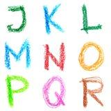 Alfabeto del creyón, Lettrs J - R Imagenes de archivo