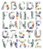 Alfabeto del dólar Imagenes de archivo