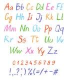 Alfabeto del disegno del ` s del bambino del pastello Fonte pastello del gesso Lettere del disegno di ABC illustrazione di stock