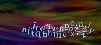 Alfabeto del disléxico con las letras invertidas Imágenes de archivo libres de regalías