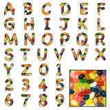 Alfabeto del dulce de la haba de jalea imagen de archivo