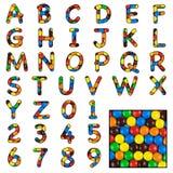 Alfabeto del dulce del caramelo imagen de archivo