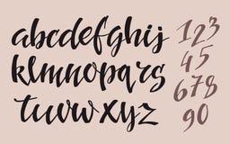 Alfabeto del estilo de la pluma del cepillo Imágenes de archivo libres de regalías