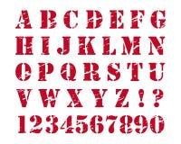 Alfabeto del estilo de los sellos de goma stock de ilustración