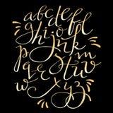Alfabeto del flourish del oro Foto de archivo
