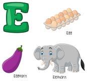Alfabeto del fumetto E illustrazione vettoriale