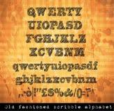 Alfabeto del garabato con efecto del bosquejo de la pluma Fotografía de archivo libre de regalías