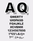 Alfabeto del garabato con efecto del bosquejo de la pluma Foto de archivo libre de regalías
