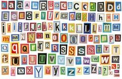 Alfabeto del giornale Fotografia Stock Libera da Diritti