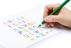 Alfabeto del gráfico de la mano Imágenes de archivo libres de regalías