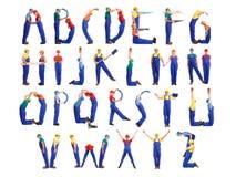 Alfabeto del hombre de la construcción Imagen de archivo
