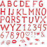 Alfabeto del lápiz labial Imagenes de archivo