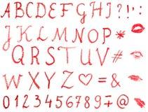 Alfabeto del lápiz labial Imagen de archivo