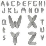 Alfabeto del metal plateado con los diamantes Imagenes de archivo
