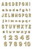 Alfabeto del oro imágenes de archivo libres de regalías