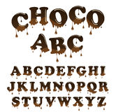 Alfabeto del papel con membrete del chocolate del vector Letras brillantes, esmaltadas fijadas Fotos de archivo