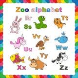 Alfabeto del parque zoológico del esquema que se coloreará Imagen de archivo libre de regalías