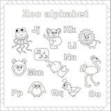 Alfabeto del parque zoológico del esquema que se coloreará Fotografía de archivo