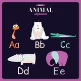 Alfabeto del parque zoológico del vector con la historieta y divertido lindos Imágenes de archivo libres de regalías
