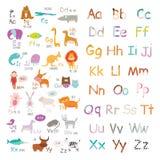 Alfabeto del parque zoológico del vector con la historieta y divertido lindos Imagen de archivo libre de regalías
