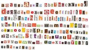 Alfabeto del periódico - minúscula Imagenes de archivo