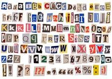 Alfabeto del periódico aislado Fotos de archivo