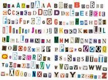 Alfabeto del periódico - mayúscula Fotografía de archivo libre de regalías