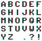 Alfabeto del pixel con efecto del anáglifo 3D ilustración del vector