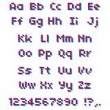 Alfabeto del pixel di vettore Lettere e numeri rosa e blu Fotografia Stock