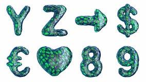 Alfabeto del plástico azul con los agujeros abstractos aislados en un fondo blanco Y Z, flecha, dólar, euro, corazón, 8, 9 metrajes