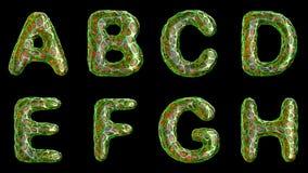 Alfabeto del plástico con los agujeros abstractos aislados en un fondo negro UN B C D E F G H 4K metrajes