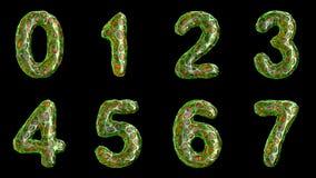 Alfabeto del plástico con los agujeros abstractos aislados en un fondo negro El número 0 1 2 3 4 5 6 7 4K stock de ilustración