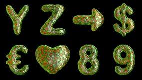Alfabeto del plástico con los agujeros abstractos aislados en un fondo negro Y Z, flecha, dólar, euro, corazón, 8, 9 4K ilustración del vector