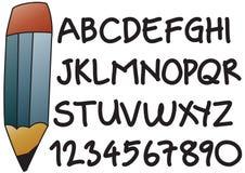 Alfabeto del programa de escritura de la mano Imagen de archivo