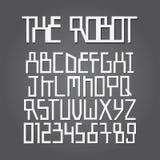 Alfabeto del robot y vector abstractos del dígito Imagenes de archivo