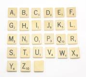 Alfabeto del Scrabble Foto de archivo libre de regalías