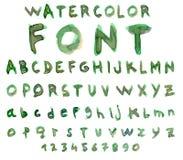 Alfabeto del vector con la fuente de la acuarela Fotos de archivo