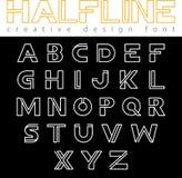 Alfabeto del vector de Logo Font del monograma ABC pone letras al esquema del logotipo stock de ilustración