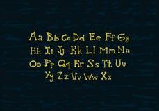Alfabeto del vector de los huesos en fondo del grunge Imagen de archivo libre de regalías