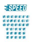 Alfabeto del vector del vuelo de la velocidad Tipografía rápida de los símbolos para el equipo del coche de competición, los cart Fotos de archivo