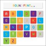 Alfabeto del vector, fuente redonda del color Fotos de archivo