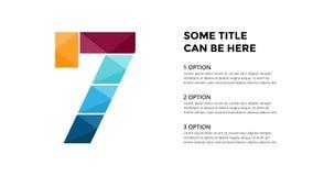 Alfabeto del vector infographic Modelo de la diapositiva de la presentación Concepto de la fuente del negocio con el número 7 y l libre illustration