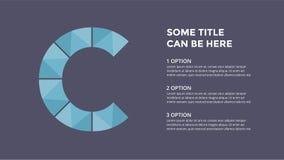 Alfabeto del vector infographic Modelo de la diapositiva de la presentación Concepto de la fuente del negocio con la letra C y lu ilustración del vector