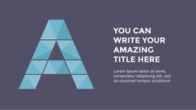 Alfabeto del vector infographic Modelo de la diapositiva de la presentación Concepto de la fuente del negocio con la letra A y lu stock de ilustración